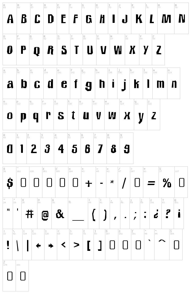 Icicle Country Two font map